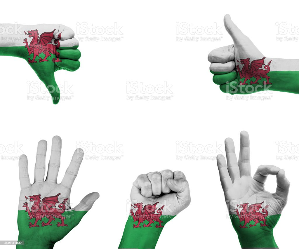 Hand set with the flag of Wales royalty-free stock photo