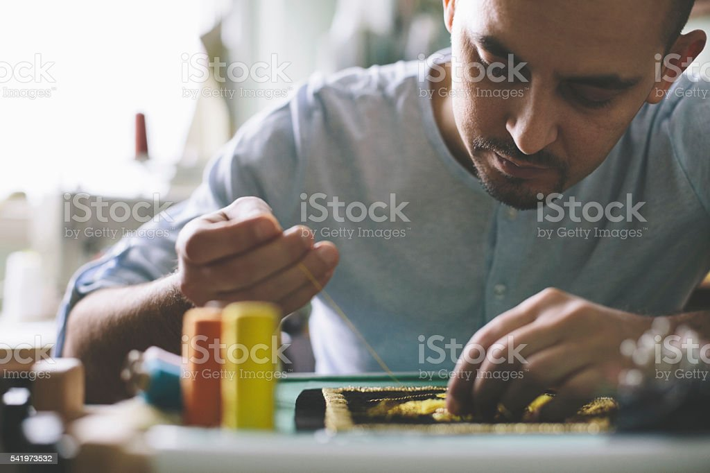 Hand sewing and embrodery stock photo