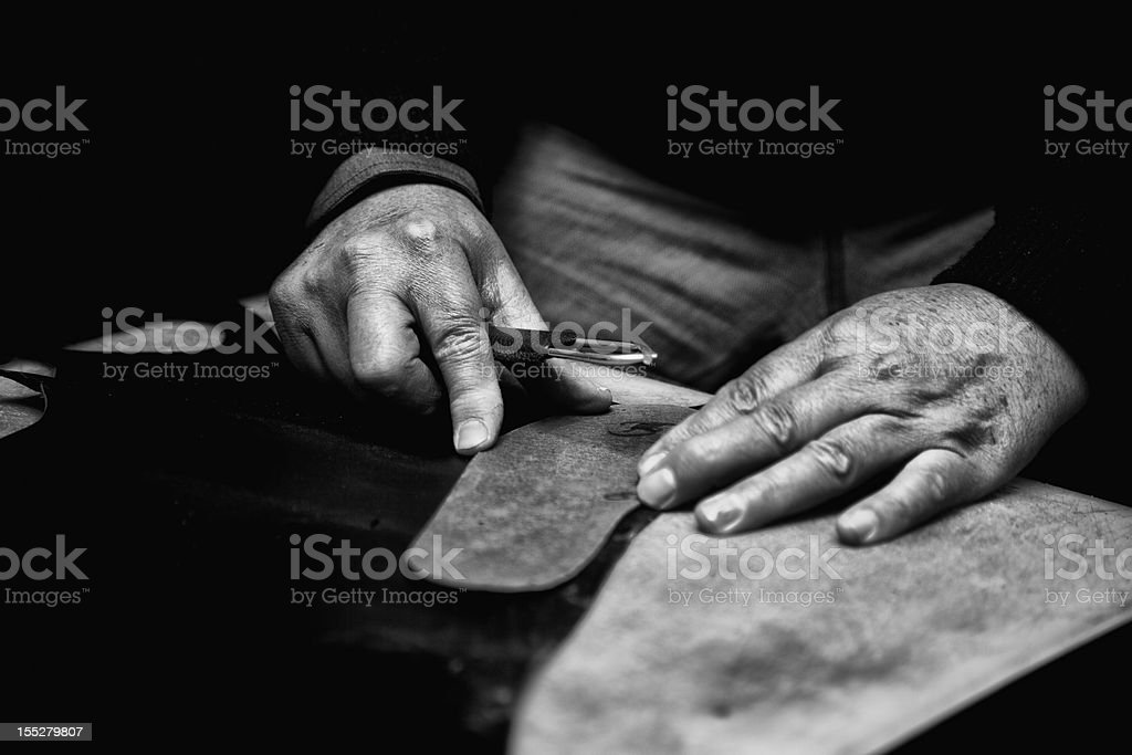 Hand sewing stock photo