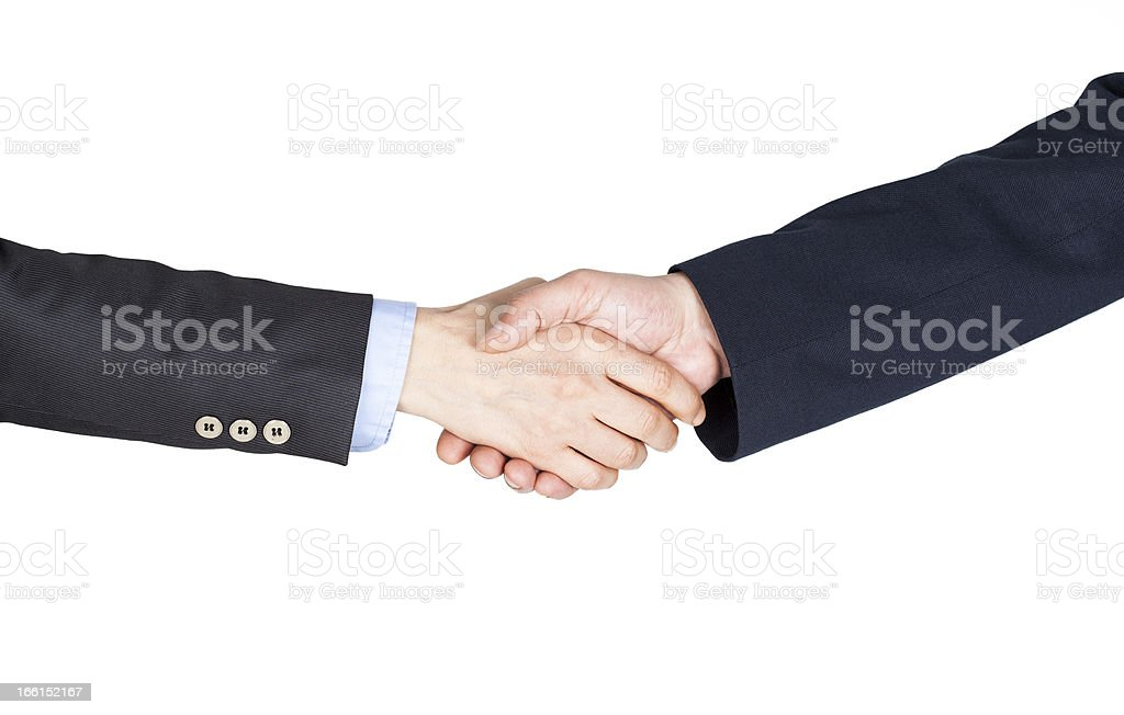 Hand shake between a businessman and businesswoman royalty-free stock photo