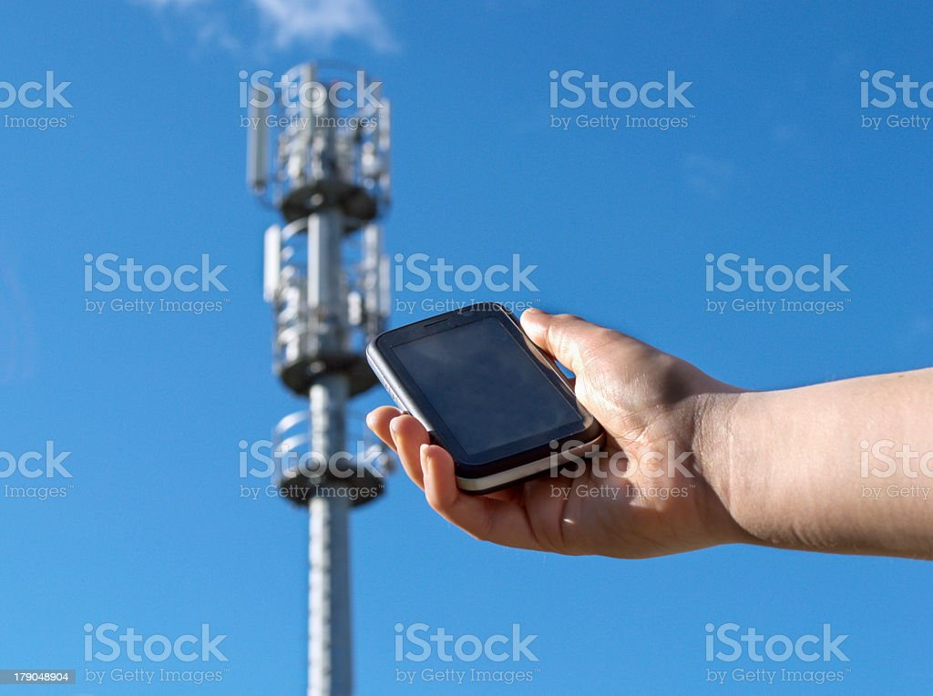 hand showing a phone stock photo