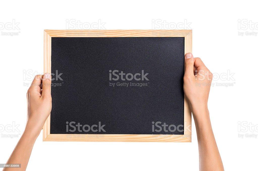 Hand showing blank blackboard stock photo