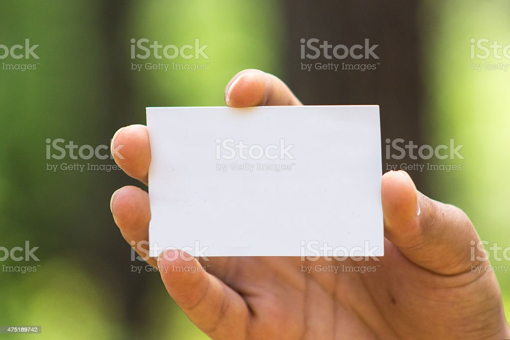 Hand showing empty card stock photo
