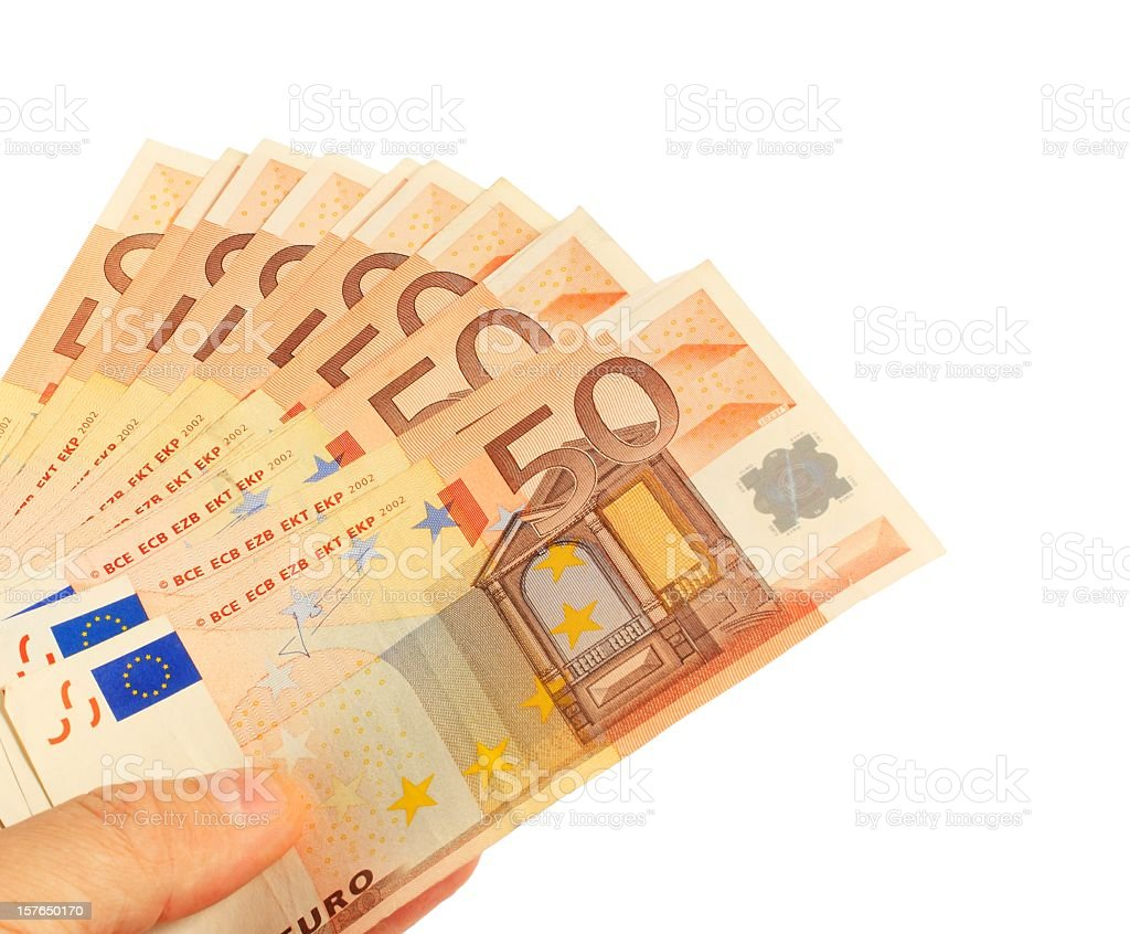 Hand showing fifty Euro notes, holding as a fan stock photo