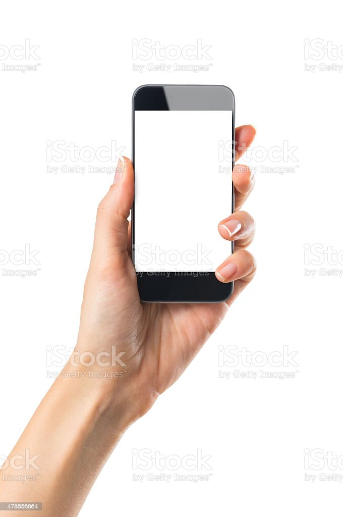 Hand showing mobile phone stock photo