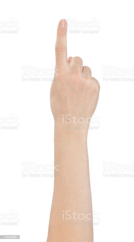 Hand showing one finger on white background stock photo