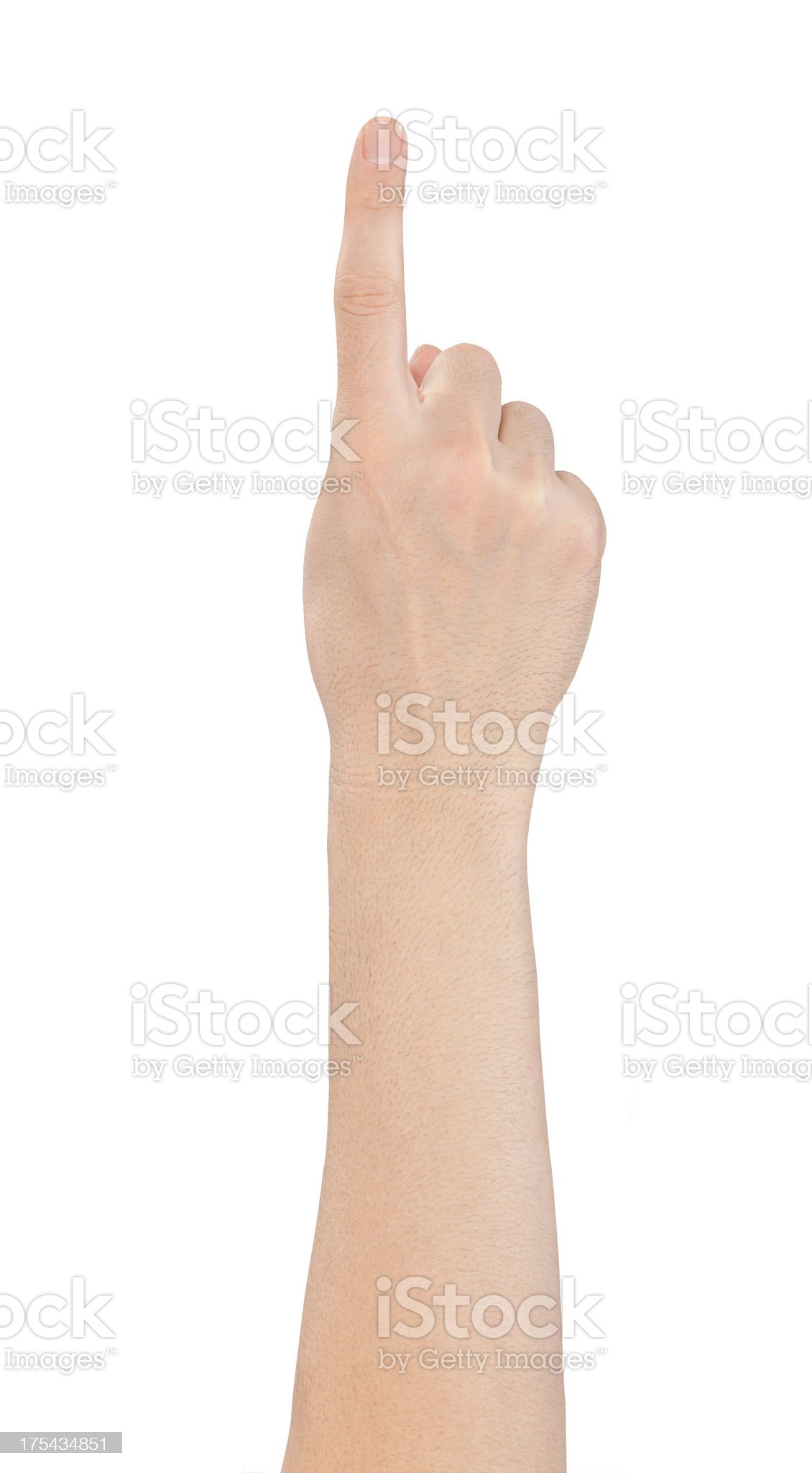 Hand showing one finger on white background royalty-free stock photo