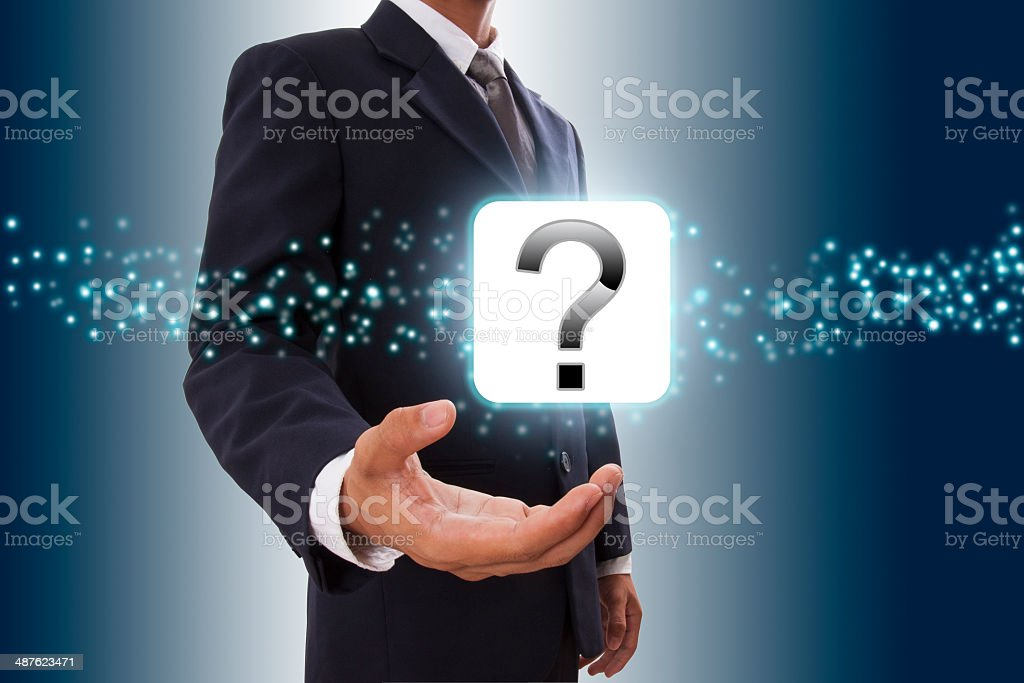hand showing question mark icon stock photo