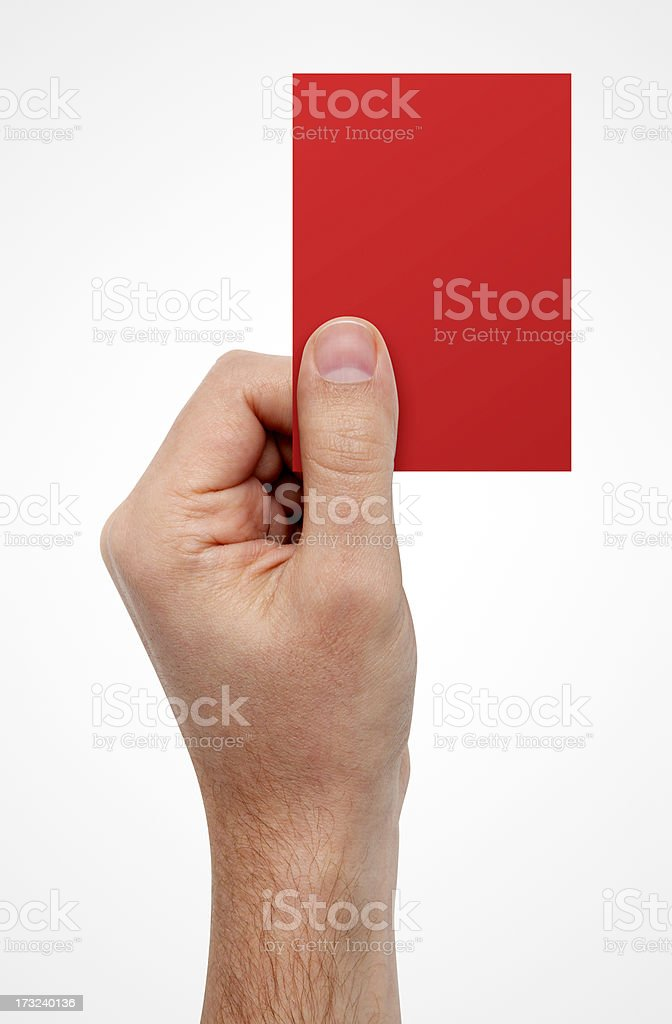 Hand Showing Red Card, With Clipping Path royalty-free stock photo