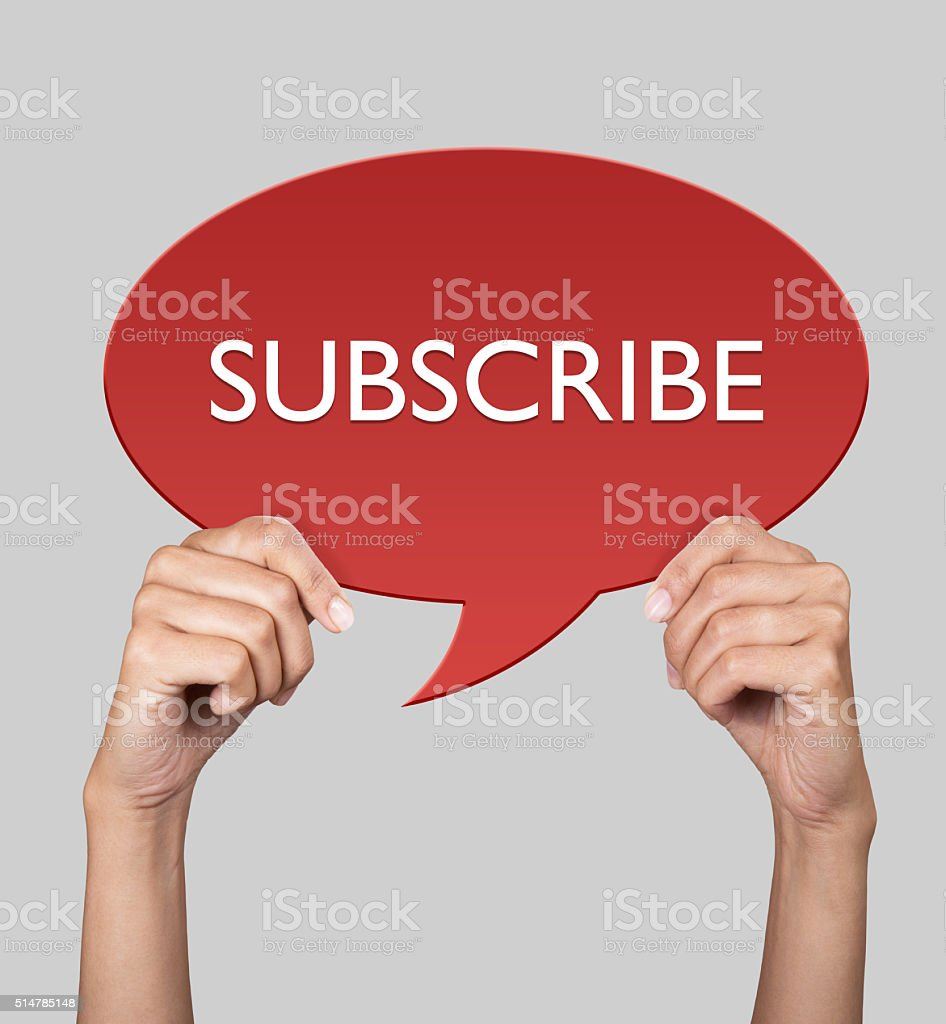 Hand showing subscribe on speech bubble stock photo