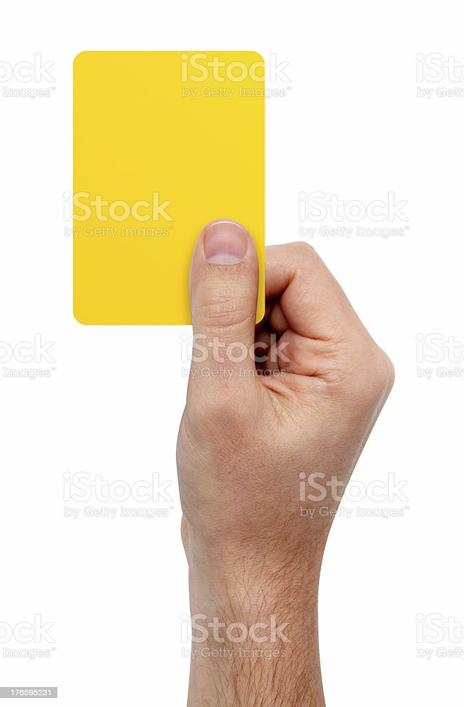 Hand Showing Yellow Card, With Clipping Path royalty-free stock photo
