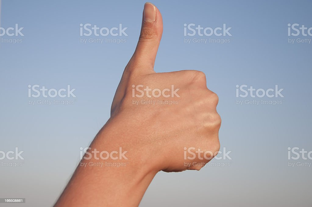 Hand Sign Isolated on Sky royalty-free stock photo