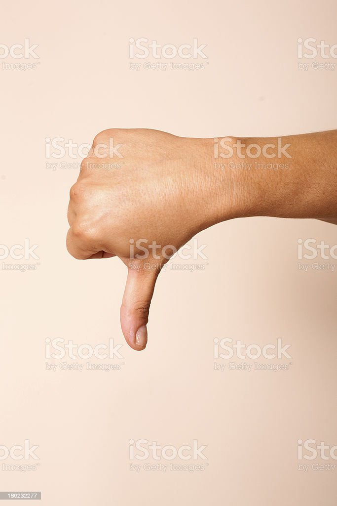 Hand sign MUDRA with thumb down stock photo