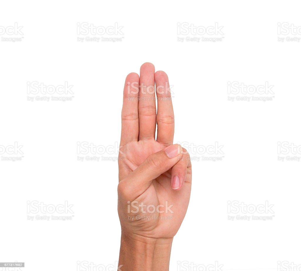 Hand sign of 3 fingers point upward stock photo