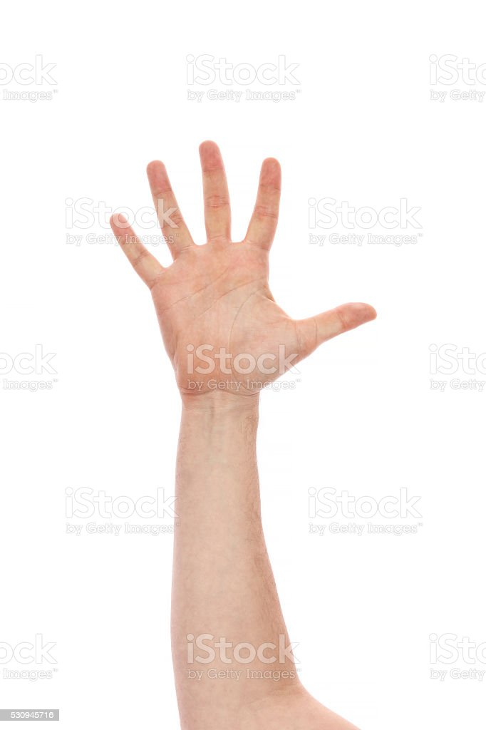 hand sign of number five stock photo