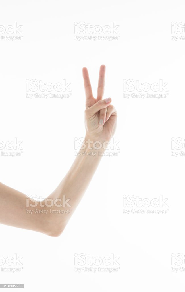 hand sign of number two stock photo