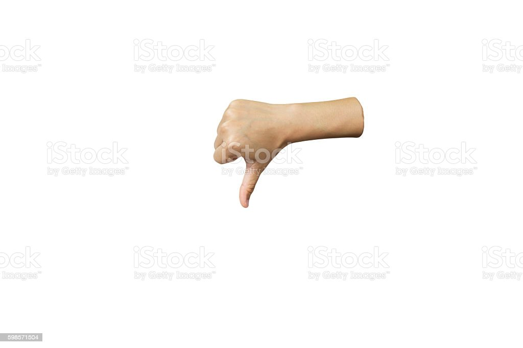 Hand sign or hand language isolated on white stock photo
