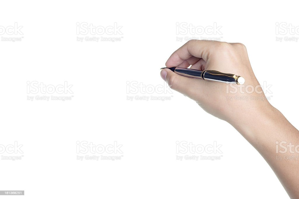 hand sign posture hold pen write isolated royalty-free stock photo