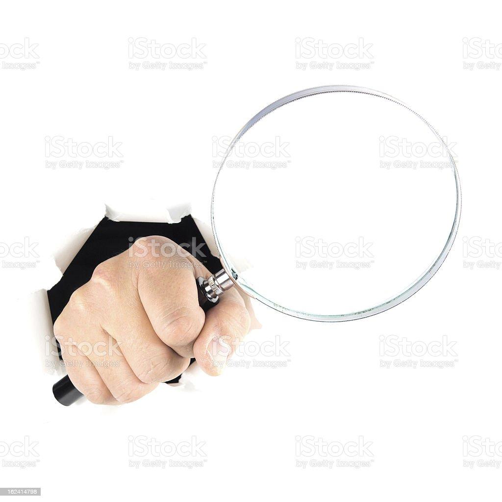 Hand sign seraching stock photo