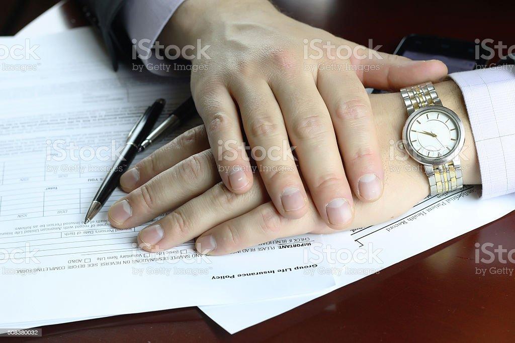 hand signed insurance stock photo