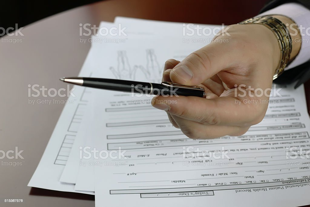 hand signed insurance stock photo