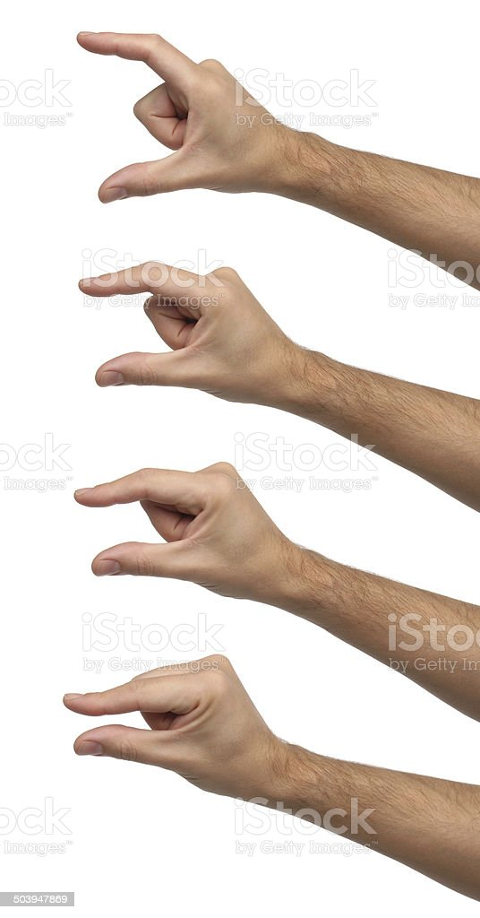 Hand signs. Different sizes isolated stock photo
