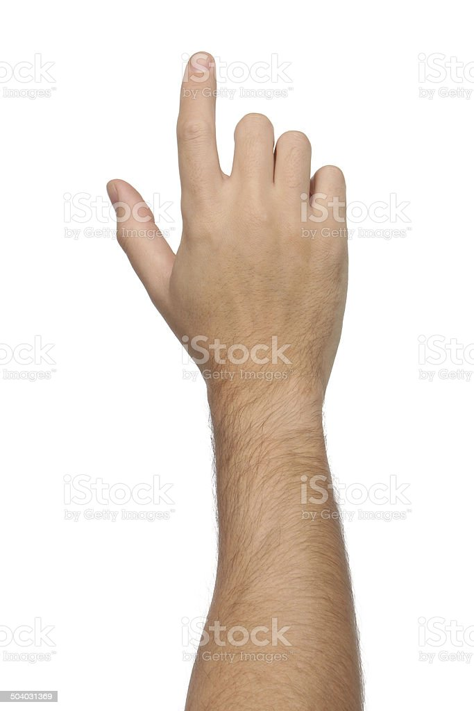 Hand signs. Pointing or touching something. Isolated stock photo