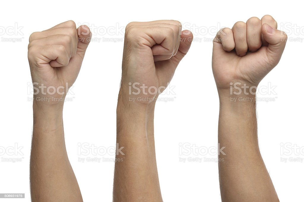 Hand signs. Punch fist isolated on white background stock photo