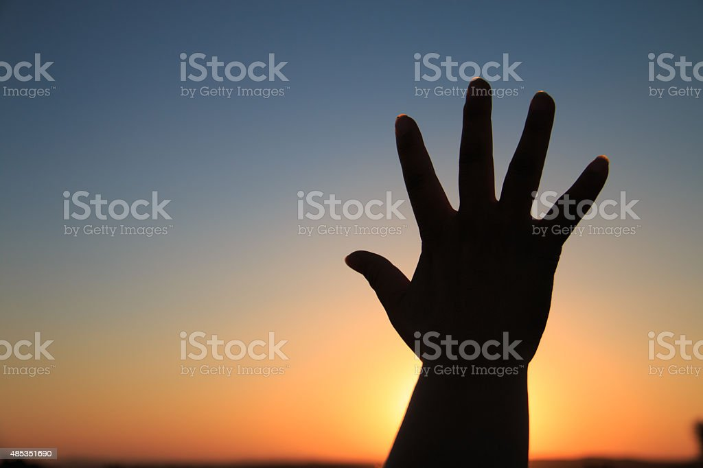 Hand silhouette stock photo