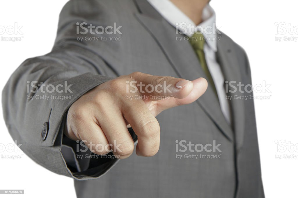 hand simulating pressing a button royalty-free stock photo