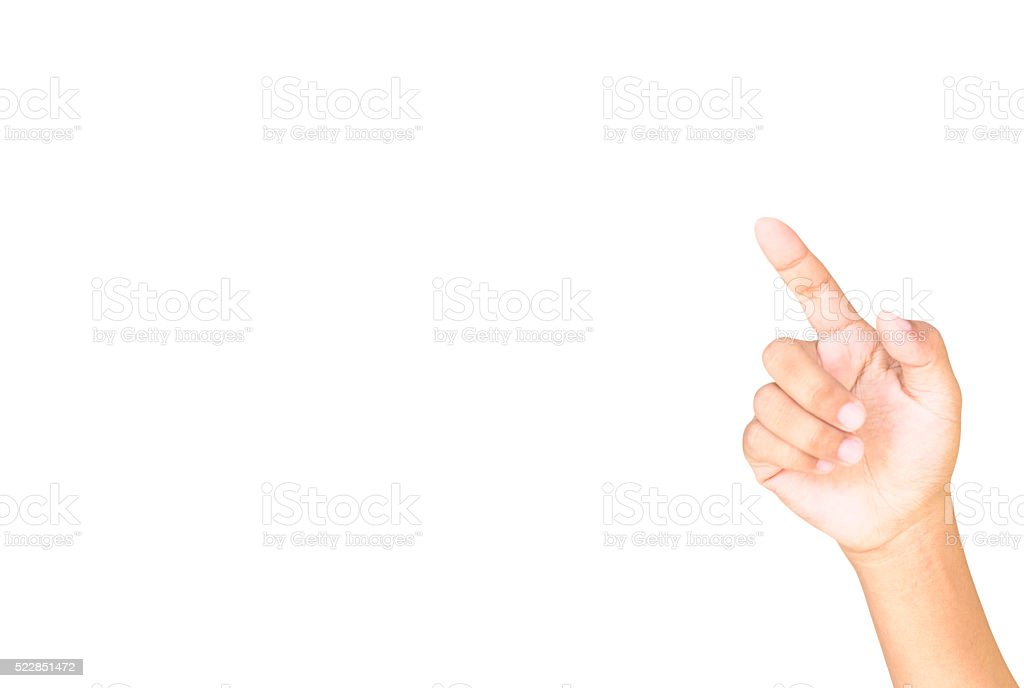 Hand simulating pressing a button. stock photo