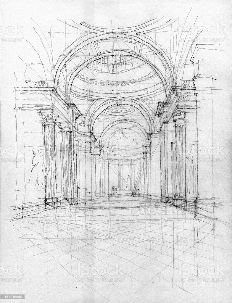 Hand sketch of Pantheon interior stock photo