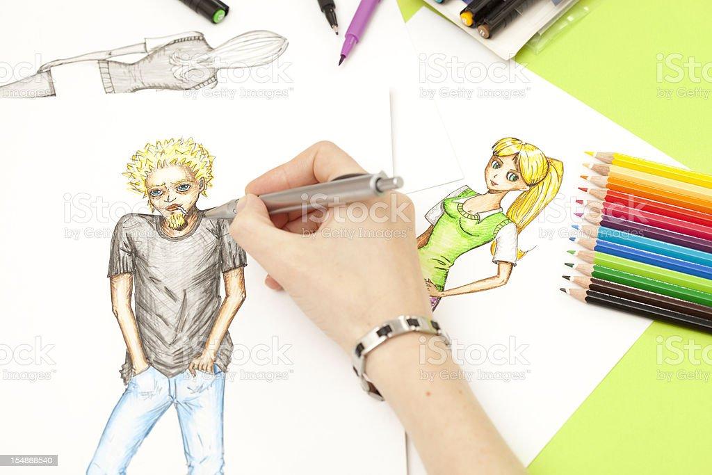 Hand sketching manga characters royalty-free stock photo