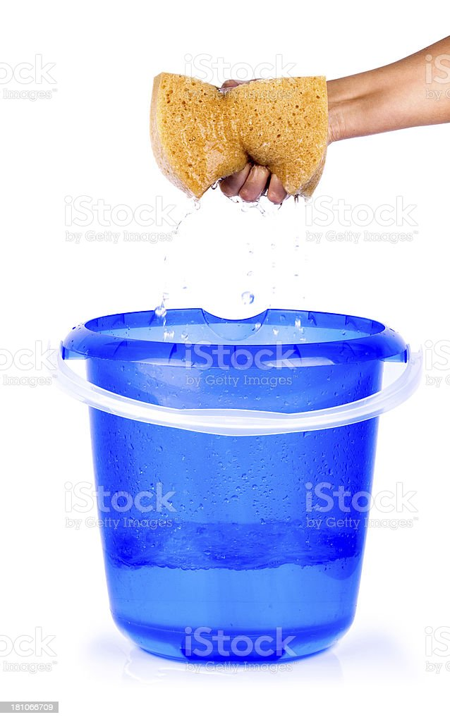 Hand Squeezing Sponge Into Bucket on white background royalty-free stock photo