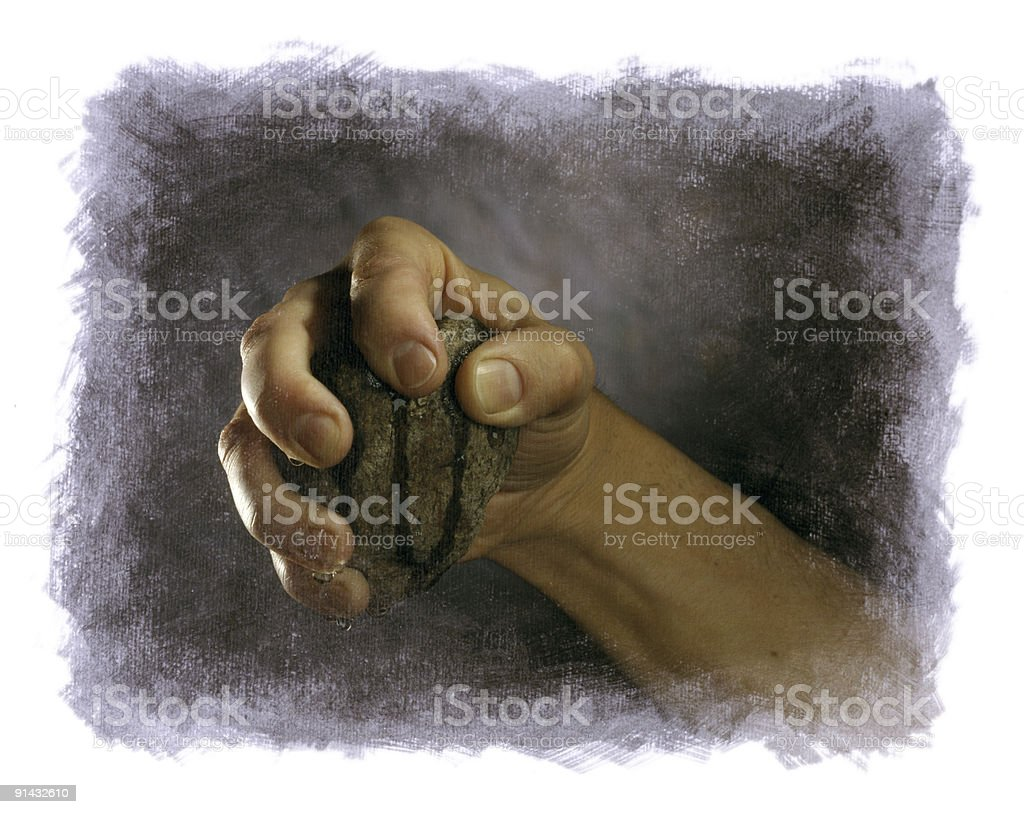 Hand Squeezing Water from a Rock 4x5 Film royalty-free stock photo