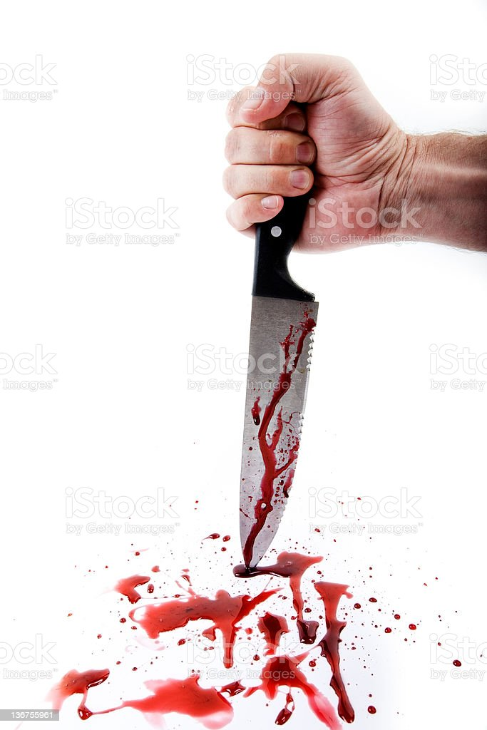 Hand Stabbing with Knife Isolated on White Background stock photo