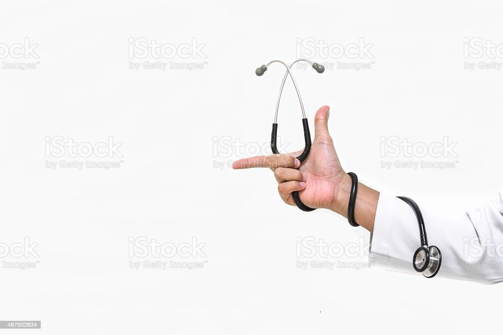 hand Stethoskop isoliert Lizenzfreies stock-foto