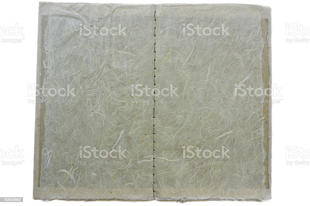 Hand stitch book; fibrous, wide view royalty-free stock photo