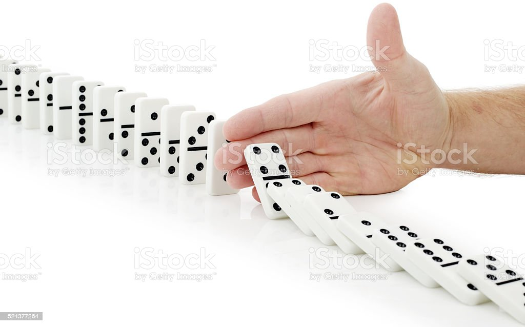 hand stop dominoes continuous toppled stock photo