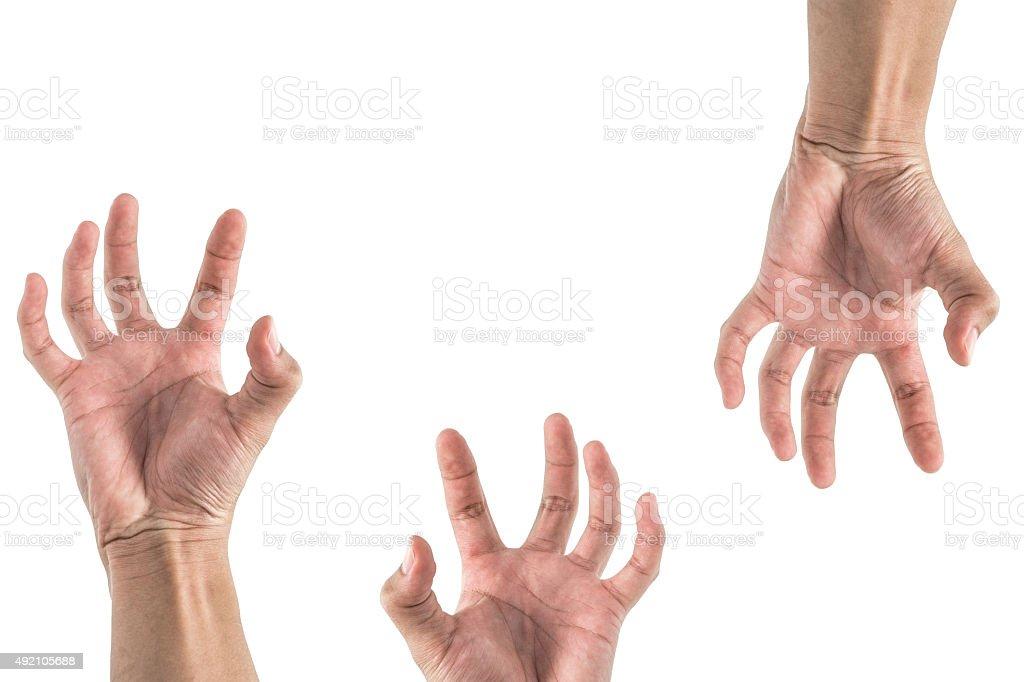 hand stretching something , look like zombie set stock photo