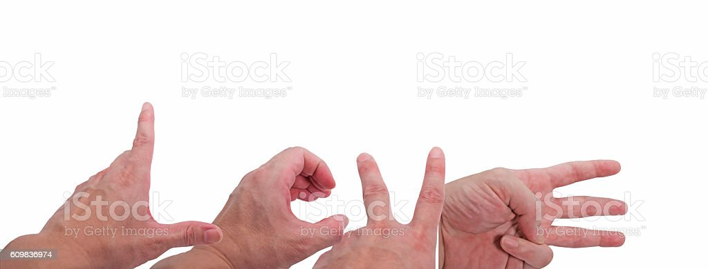 Hand Symbol (L - O - V - E) on White Background stock photo