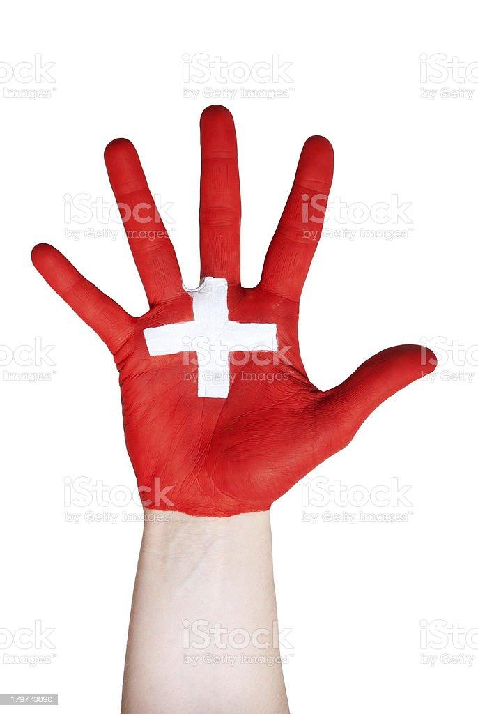hand symbolizing switzerland royalty-free stock photo