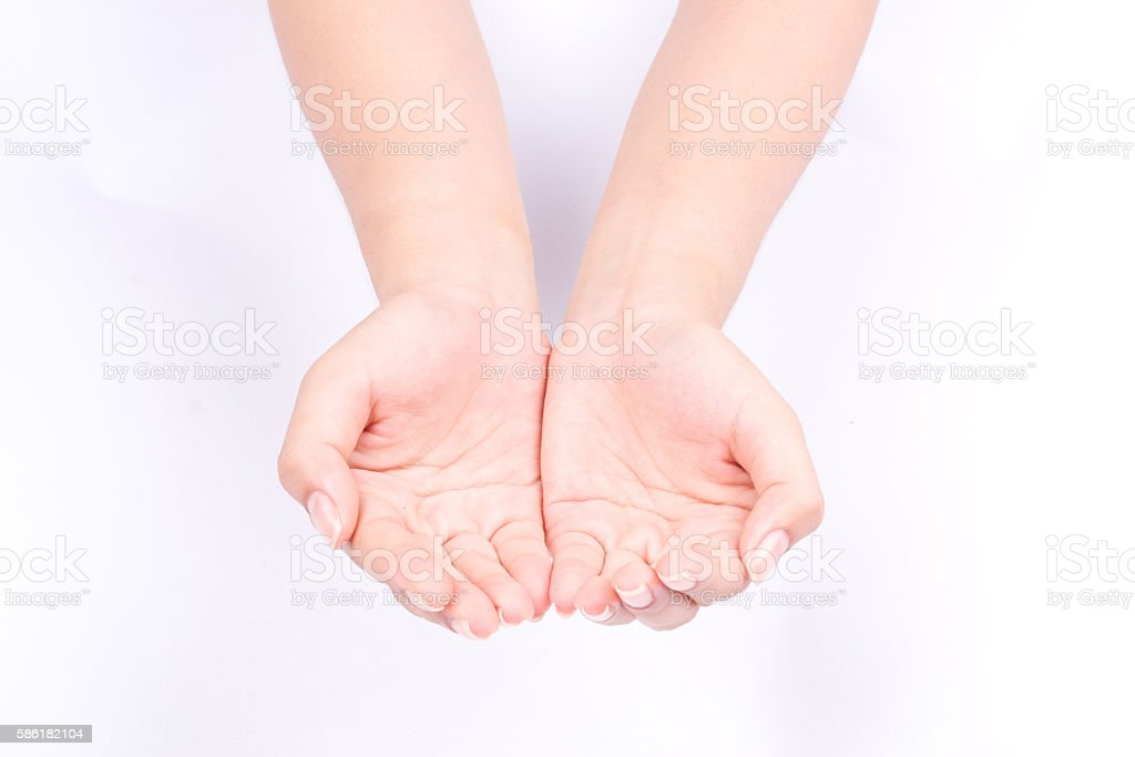 hand symbols join two cupped hands and open hands hopefully stock photo