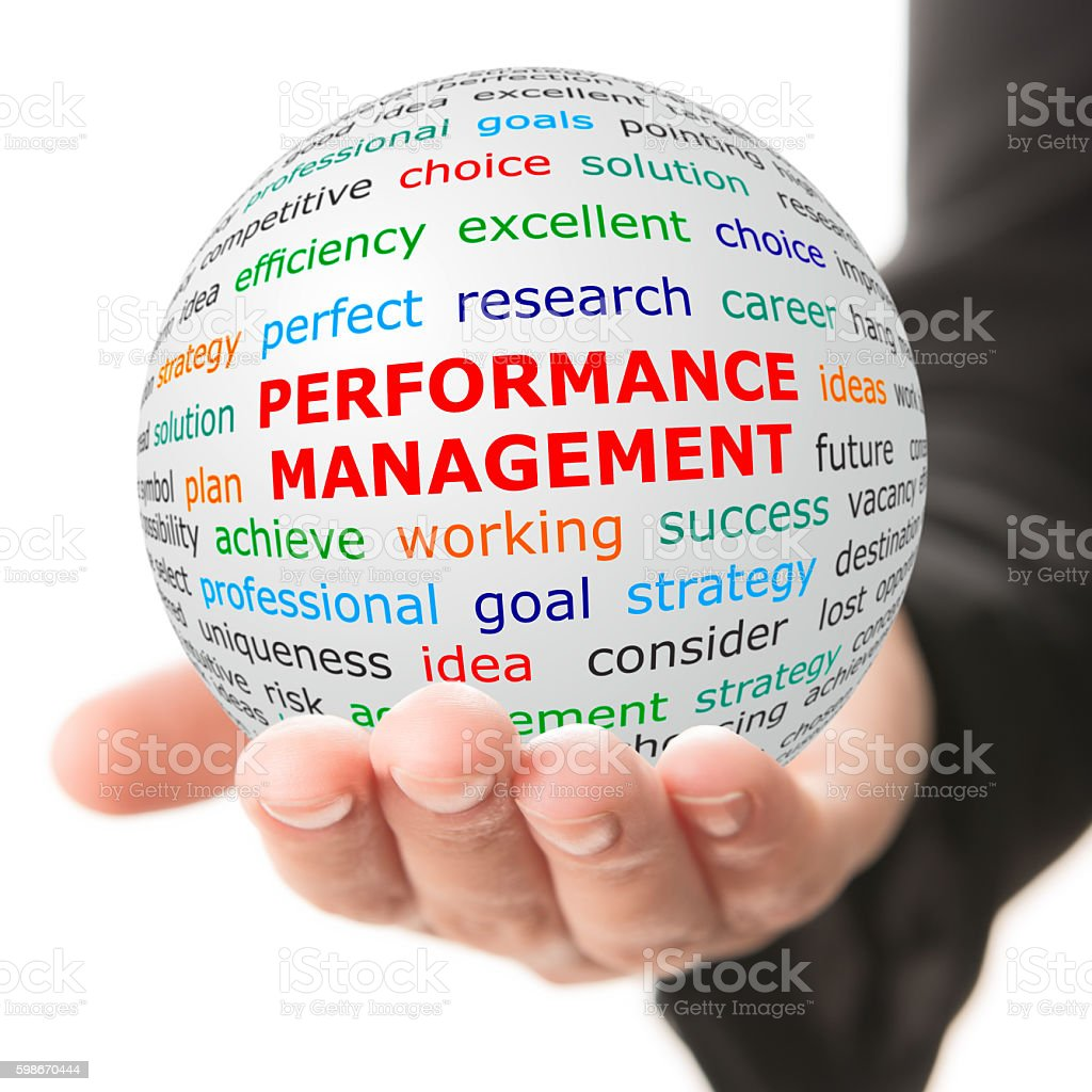 Hand take white ball with red inscription Performance management stock photo
