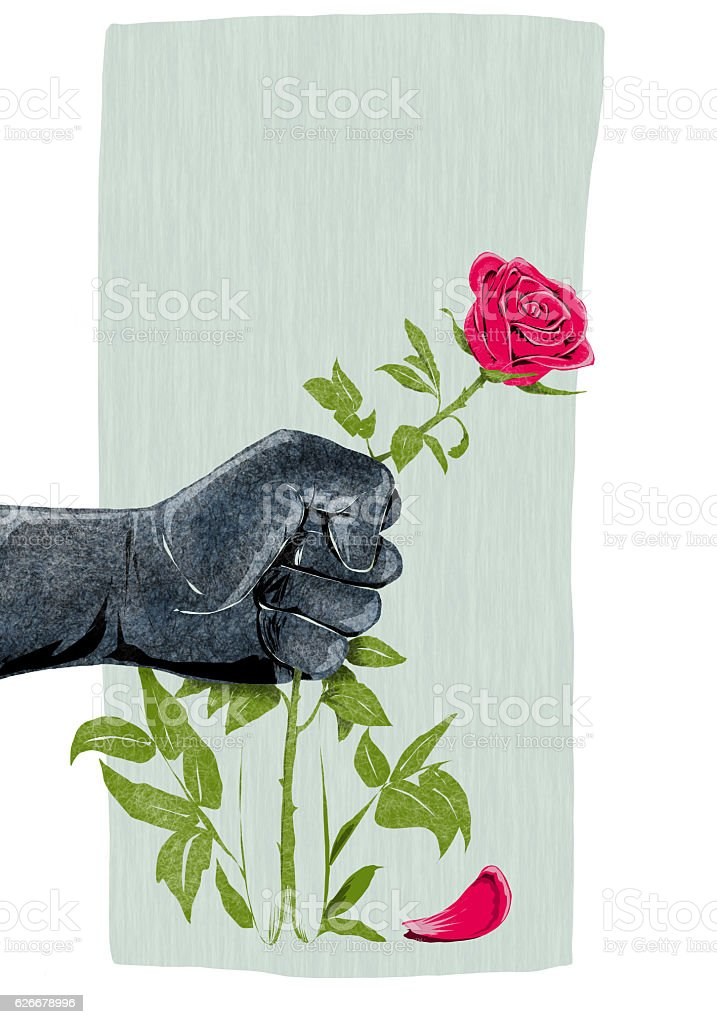 hand that breaks a rose symbol of violence against women stock photo