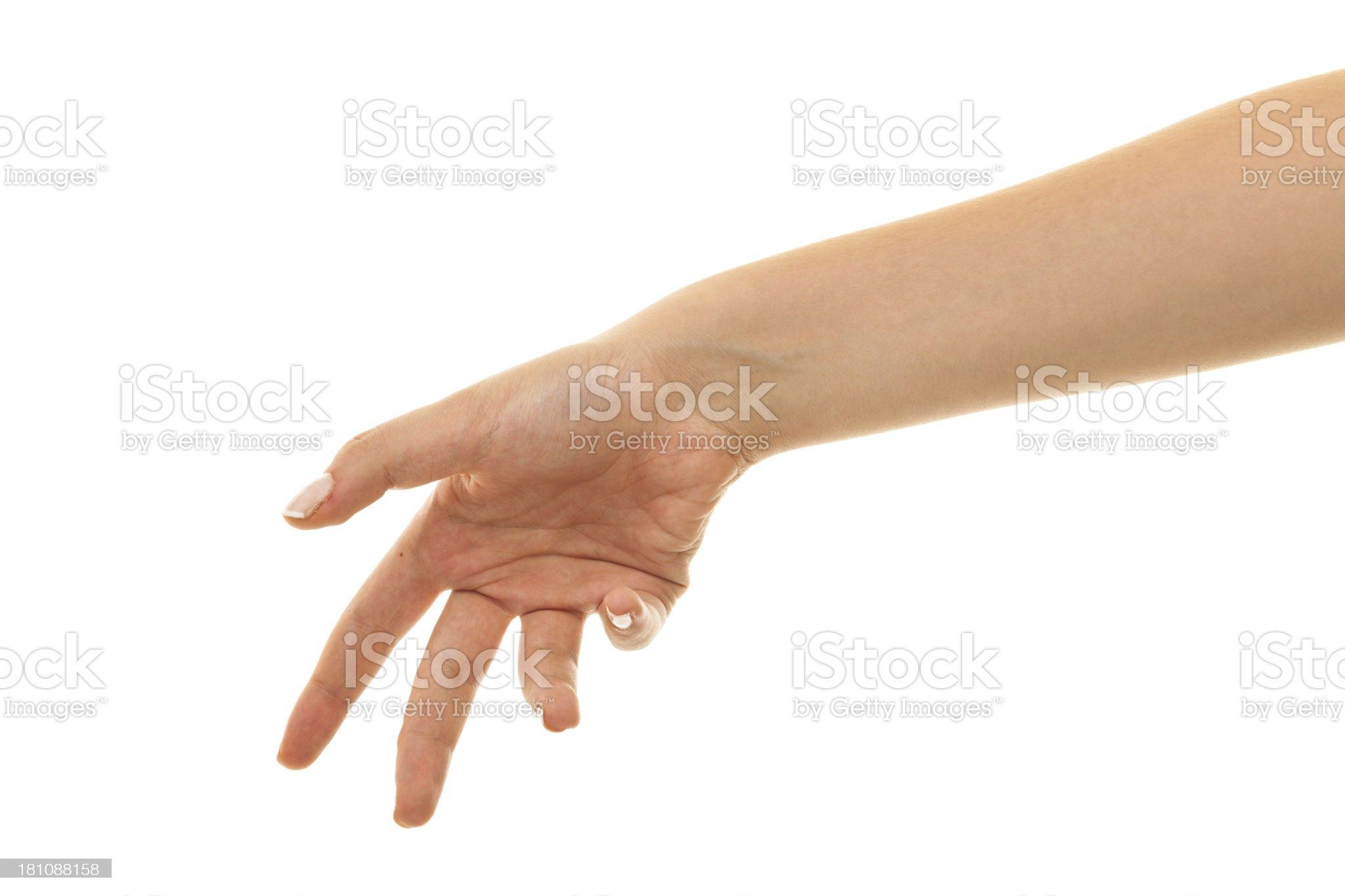 Hand throwing something royalty-free stock photo