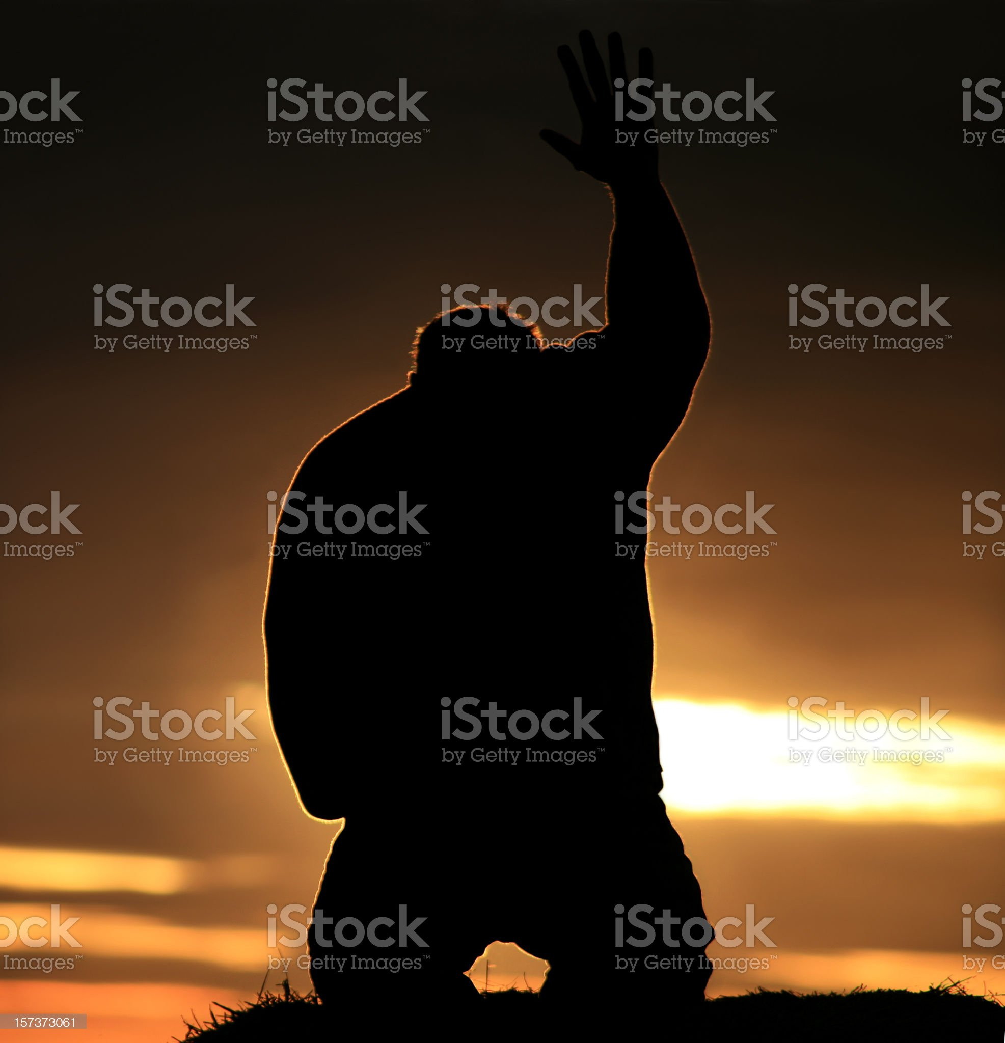 Hand to Heaven in Praise and Worship royalty-free stock photo