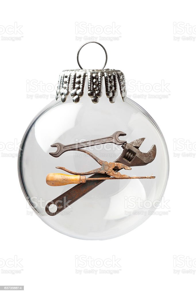 Hand Tool in a Christmas Ornament stock photo