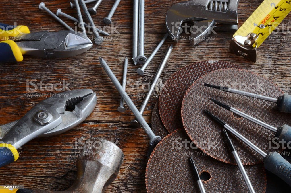 Hand Tools and Workbench Background stock photo
