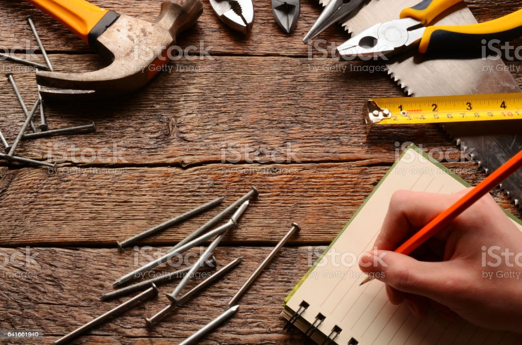 Hand Tools Background stock photo